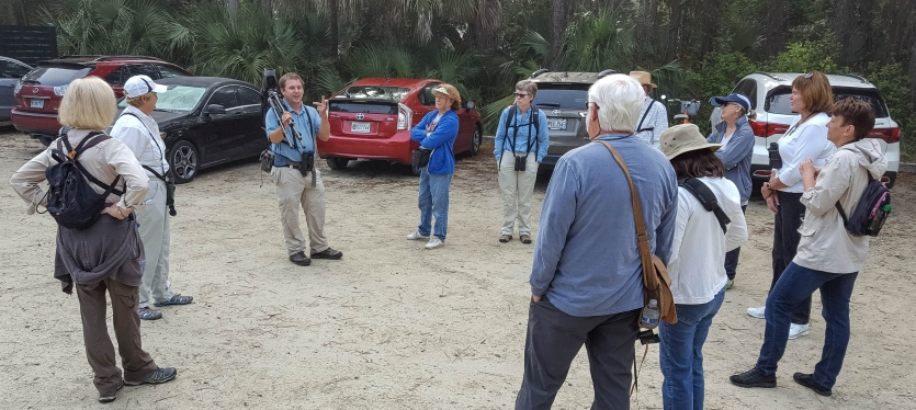 "SIB members ready to start the ""Birding with David Gardner"" at St. Christopher's on April 21, 2016. Ed Konrad"