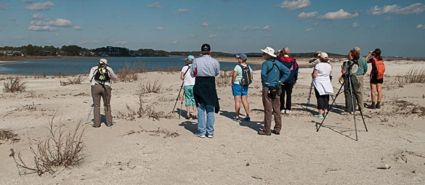 SIB Members enjoying a bird walk on North Beach during the GBBC - Ed Konrad