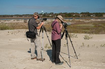 Aija & Nolan birding North Beach - Ed Konrad