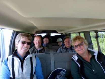 Nancy Brown, Flo Foley & other tour members in our van - Mary Krentz