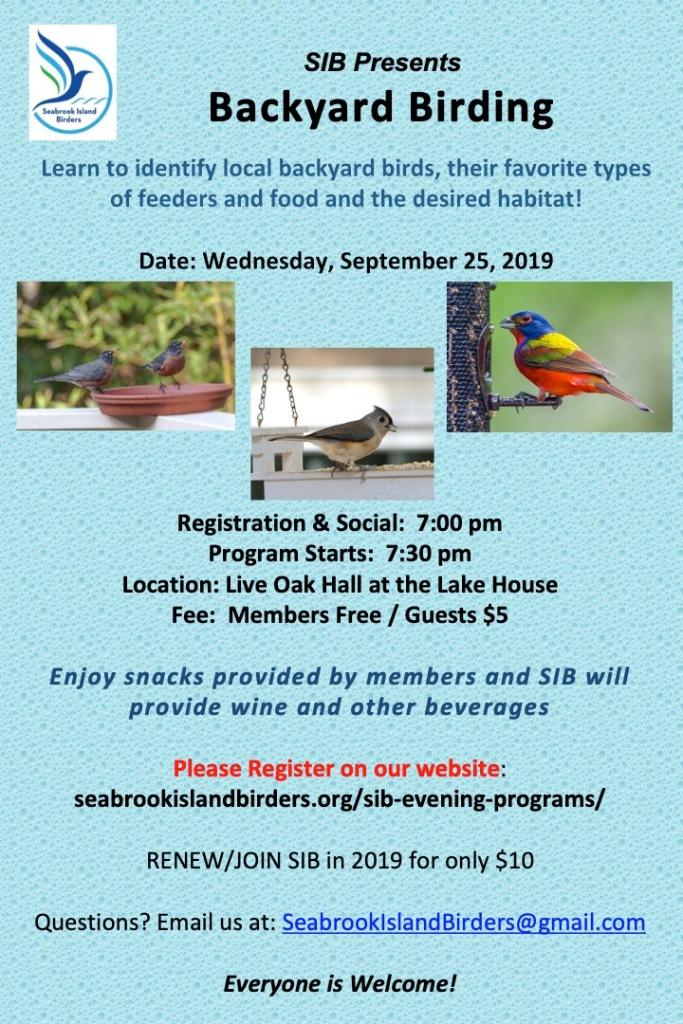 """Sign up for our September 25th Program: """"Backyard Birding on"""
